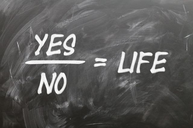 Quadro negro escrito a giz, yes, no, igual à life.